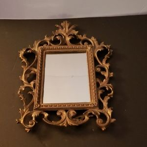 Ornate cast Brass Framed Mirror Vintage
